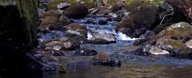 Relaxing river flow for meditation